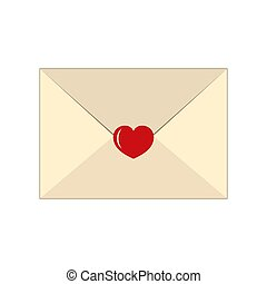 Envelope with heart isolated on white