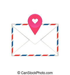 Envelope with heart mark flat icon
