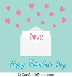 Envelope with hearts. Happy Valentines day card.