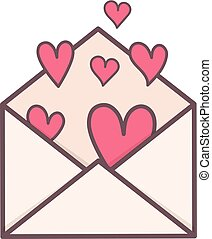 Envelope with hearts inside.