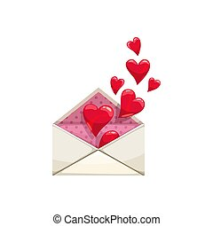 Envelope with hearts, love correspondence