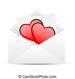 Envelope with hearts to the day of saint Valentin, vector ...