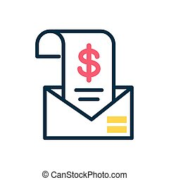 envelope with invoice with money symbol icon, half color style