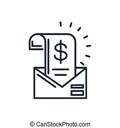 envelope with invoice with money symbol icon, line style