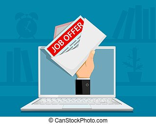 Envelope with job offer on the laptop screen.
