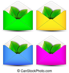 Envelope with leaf