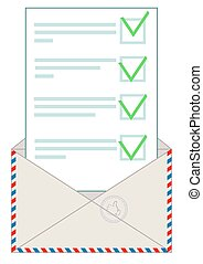 Envelope with letter. Flat vector illustration.