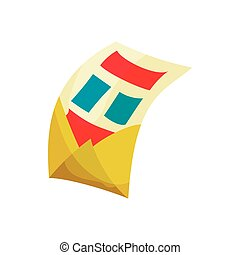 Envelope with letter icon, cartoon style