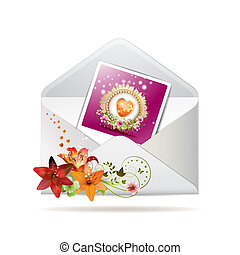 Envelope with lilies and photo