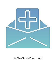 envelope with medical cross symbol silhouette gradient style