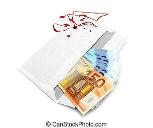 Envelope with money and blood drops. On white.