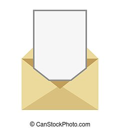 envelope with paper coming out icon