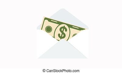 Envelope with paper dollar coin. - Envelope with paper...