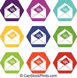 Envelope with percentage icon set color hexahedron