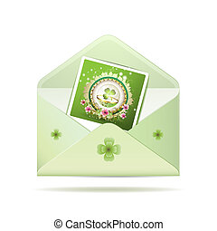 Envelope with photo and clover