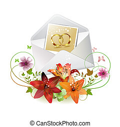 Envelope with photo of two wedding ring, isolated on white...