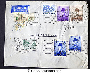 Envelope with postage stamps from Indonesia
