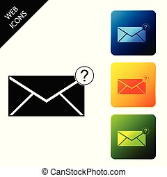 Envelope with question mark icon isolated. Letter with question mark symbol. Send in request by email. Set icons colorful square buttons. Vector Illustration
