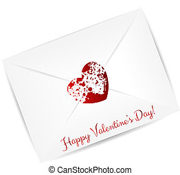 Envelope with red grunge heart