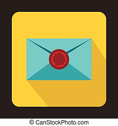 Envelope with red wax seal icon, flat style