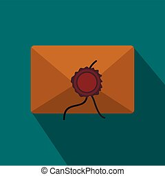 Envelope with red wax seal icon in flat style