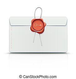 Envelope with red wax seal - illustration of close detailed...