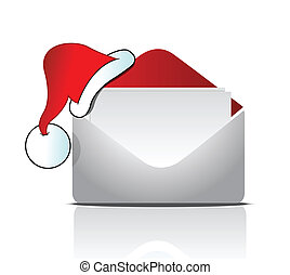 envelope with Santas hat