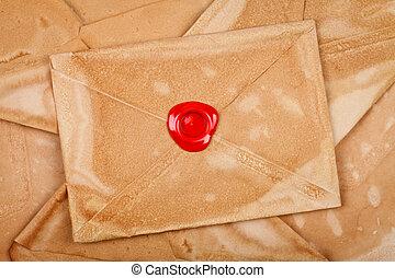 Envelope with sealing wax