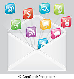 Envelope with Set of Icons