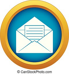 Envelope with sheet of paper icon blue vector isolated