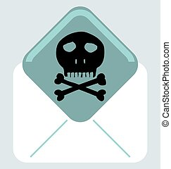 Envelope with skull and crossbones symbol, mark of the danger warning