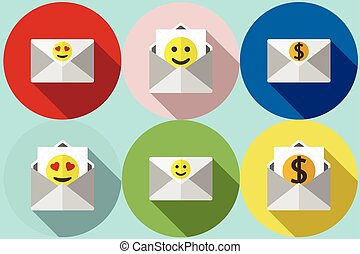 envelope with smiley Vector flat