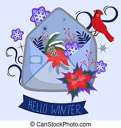 Envelope with snowflakes. Lettering hello winter. Vector graphics.
