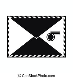 Envelope with stamp icon, simple style