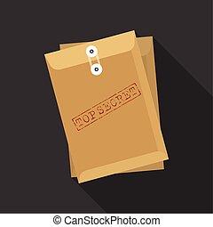 Envelope with stamp top secret, flat design vector