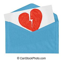 envelope with symbol of broken love