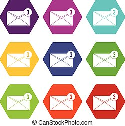 Envelope with three messages icon set color hexahedron