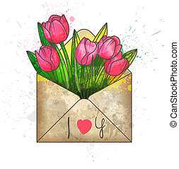 """Envelope with tulips and inscription """"I love you"""""""