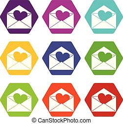 Envelope with Valentine heart icon set color hexahedron