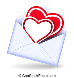 Envelope with valentine hearts - Open envelope with two...