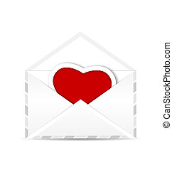 Envelope with valentine red heart