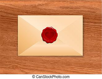 Envelope with Wax Seal Heart Origianl Vector Illustration ...