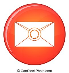 Envelope with wax seal icon, flat style