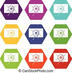 Envelope with wax seal icon set color hexahedron