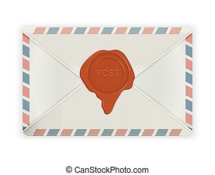 Envelope with wax seal isolated on white.