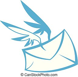 Envelope with wings - delivery of letters
