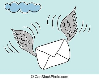 Envelope with Wings Flying towards Recipient. Air mail concept vector.