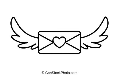 envelope with wings in white background