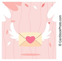 envelope with wings, love letter