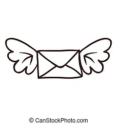 envelope with wings